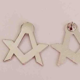 Nickel plated square compass masonic lapel pin