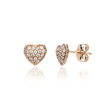 Eye Candy, women's, heart-shaped pearl earrings, sterling 925 silver, rose gold plating, with 36 Ref zircons. 4045425027719