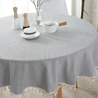 120cm Stil Tischdecke einfache Baumwolle Leinen Tischdecke Runde schlicht eisern Etabledecken (hellgrau)