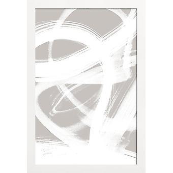 JUNIQE Print -  Abstract Brush Strokes 6 - Abstrakt & Geometrisch Poster in Cremeweiß & Weiß