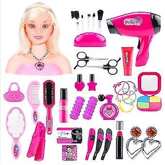 Style1人形の髪型は女の子のメイクアップおもちゃセット48pcs dt5508をドレスアップ