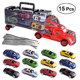 15Kpl kuten kuvassa 15kpl lelu kuorma-auton kuljetus lelu mini kuljettaja ajoneuvo malli lasten lelu (rom väri) dt3852