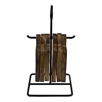 Uppsättning av 6 Mango träunderlägg på metallstativ
