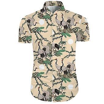 Mens 2 pezzi 3d stampa floreale pulsante casual giù manica corta camicia hawaiana e pantaloncini incastonati in