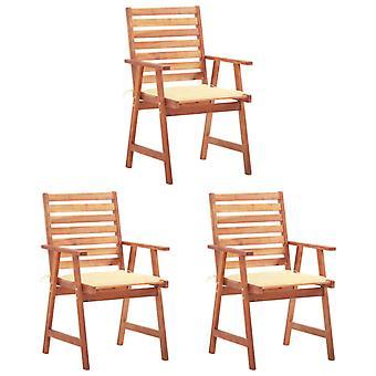 vidaXL chaises de jardin 3 pcs. avec oreiller bois massif acacia