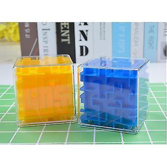 3d Labirynt Magic Speed Cube, Przezroczysty Sześć Jednostronne Puzzle, Rolling Ball Game (Niebieski)