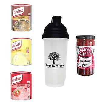 Seven Trees Farm Kit con 5 productos | 1 x Choco, 1 x Banana, 1 x Strawberry Shakes, 1 x Shaker y 1 x Raspberry Jam, ¡Sé flaco y saludable!