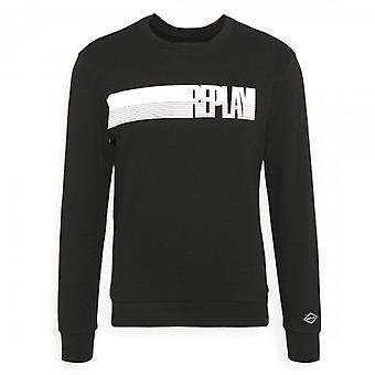 Replay Logo Crew Neck Sweatshirt Black M3509