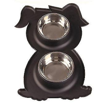 Ruostumaton teräs Double Pet Bowl Koira Kissa Twin Food Water Dish Ruokinta-asema (musta)