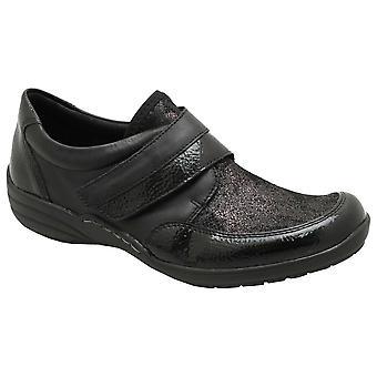 Remonte musta pilkullinen & patentti yksityiskohtainen slip litteä kenkä rip teippi kiinnitys