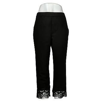 Dennis Basso Kvinners Petite Bukser Luxe Crepe Pull-On Med Blonder Svart A377146