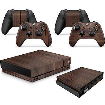 GNG WOOD Skins Xbox One X XBX Mahogany Console Tarra Vinal Tarra + 2 ohjainsarja