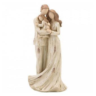 Accent Plus Parents and Daughter Carved-Look Figurine, Pack of 1