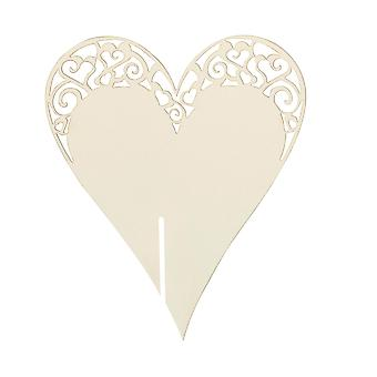Place Card on Glass - Laser Cut  Ivory Heart