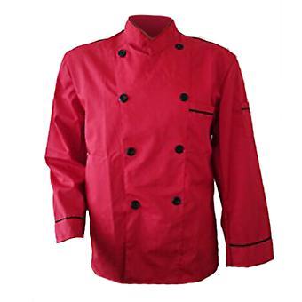 Long Sleeve Kitchen Cook Working Uniform Chef Waiter Waitress Coat Jacket Red