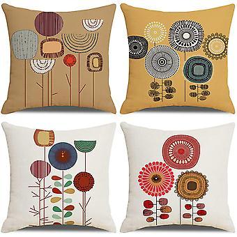 Kissenbezüge Blumenpflanzen Muster Baumwolle Leinen Dekorativ Kissenbezüge Kissenbezüge für Sofa 18x18 Zoll 4 Stück