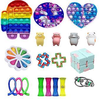 19buc Love Heart Android Anxietate Relief Toys Push Pop Bubble Rainbow senzoriale Fidget Toy Set