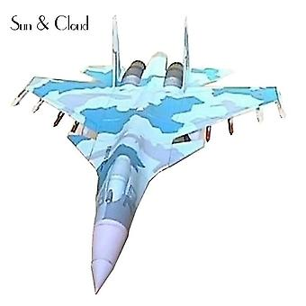 Qian 1:50 Diy 3d Sukhoi Su 35 Paper Model Assemble Work Puzzle Game Diy Kids Toy|aircraft Paper Model