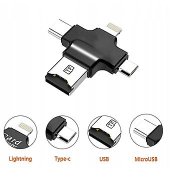 Ios Android/type-c/microsd/usb 4 In 1 Card Reader Mobile Phone Otg Adapter