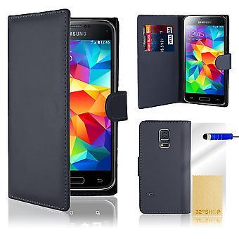 Portafoglio libro custodia cover per Samsung Galaxy S5 mini SM-G800 + stilo - Blu Navy