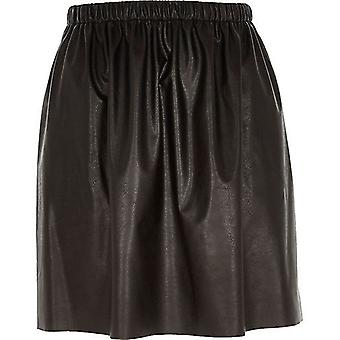 River Island leather-look ruched skirt