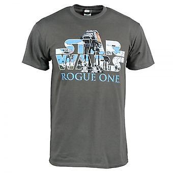 Star Wars Mens Star Wars Rogue um AT-AT logotipo T camisa cinza