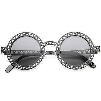 Retro metalen knipsel frame laser gesneden ronde zonnebril 44mm