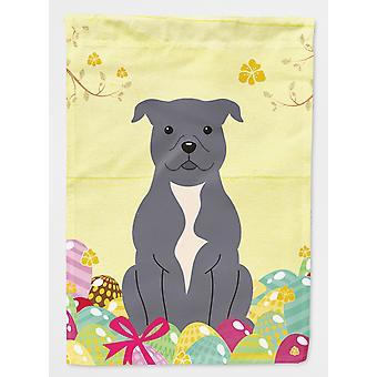 Easter Eggs Staffordshire Bull Terrier Blue Flag Canvas House Size
