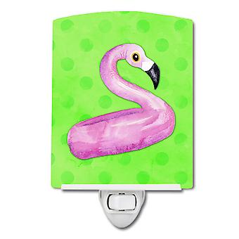 Flamingo Floaty Green Polkadot Ceramic Night Light
