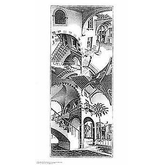 Hög och låg - MC Escher affisch affisch Skriv