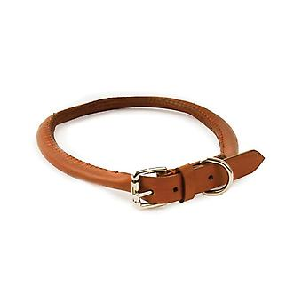Dapper Chiens Main Crafted Collier en cuir rond pour chiot chiens, Tan