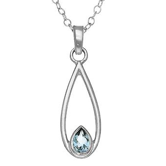 Sterling Silver Scottish November Birthstone Hand Crafted Necklace Pendant - Blue Topaz - CP318