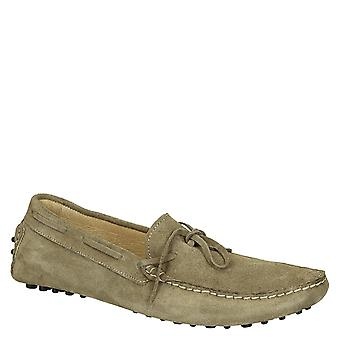 Mens driving moccasins in mud color suede leather
