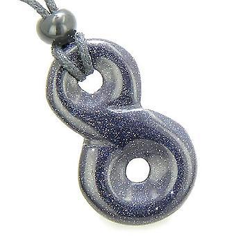 Infinity magische krachten knoop Lucky Charm geluk Amulet Goldstone blauwe edelsteen hanger ketting