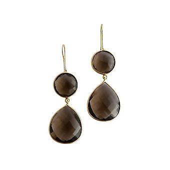 Gemshine - Women '- Earrings - 925 Silver - Gold plated - Smoky quartz - Brown