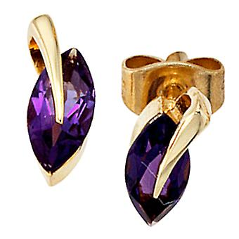 Earring studs studs, 585 / - Gelbgold, 2 amethysts, height 10 mm