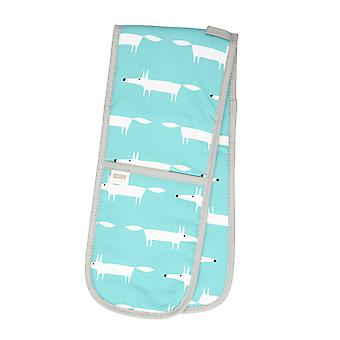 Scion Mr Fox Teal and White Double Oven Glove