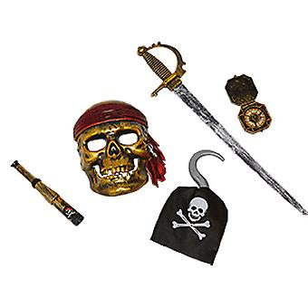 Piraten Set Kinder 5tlg Maske Schwert Piratenhaken Kompass Fernrohr Accessoire