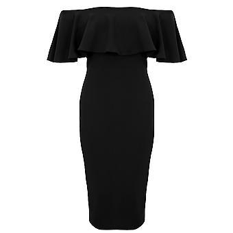 Bardot Panie Off ramię rozciągnięcia kryzy podzielić pleców Bodycon ołówek sukienka Midi