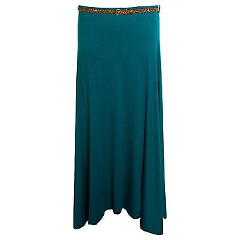 New Ladies Long Gypsy Belted Plain Coloured Jersey Maxi Dress Womens Skirt