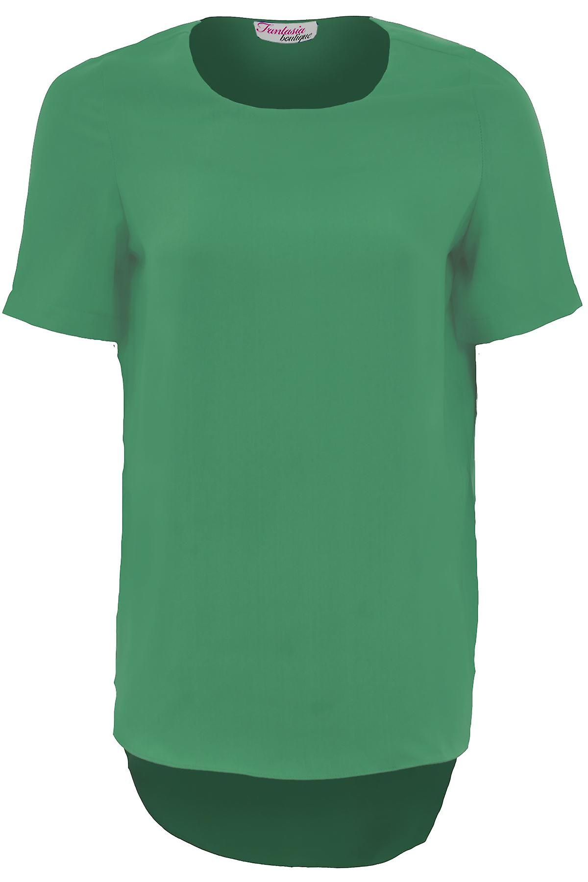 Ladies Short Sleeve High Low Plain Women's Oversized Baggy Smart T-Shirt Top