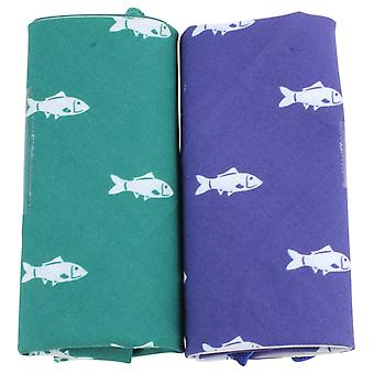 David Van Hagen Novelty Fish Handkerchief Set - Green/Blue