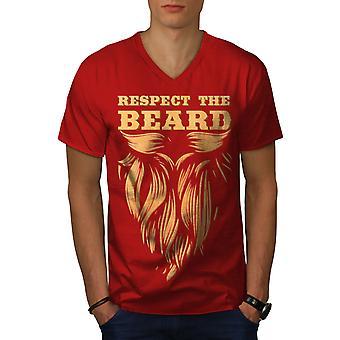 Respect Beard Hippie Men RedV-Neck T-shirt | Wellcoda