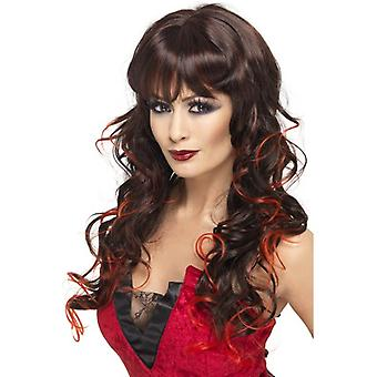 Long Brown göndör paróka, Vixen WIG, fekete és piros Halloween kiegészítők