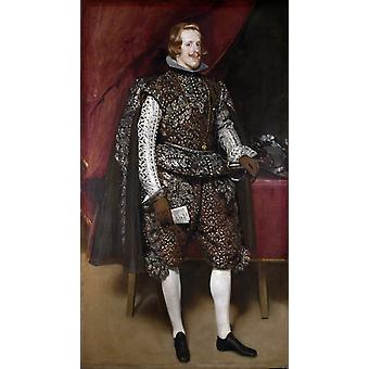 Portrait of Philip IV of Spain in Brwon, Diego Velazquez, 60x34cm