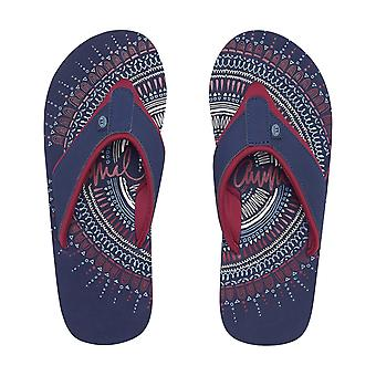 Animal Swish Placement Flip Flops in Mid Navy Blue