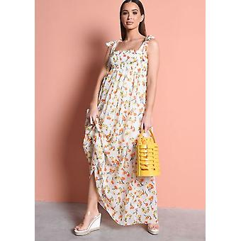 Cravatta cinghie Sheered Floral Maxi Dress Cream