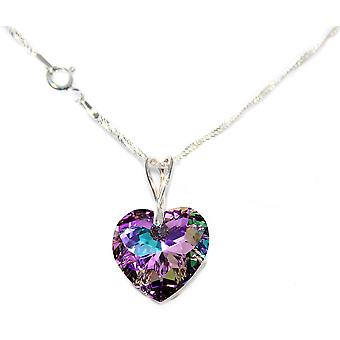 Sterling Silver Necklace With Crystals From Swarovski 18mm Vitrail Light Heart Pendant