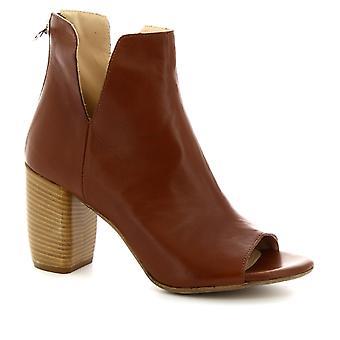 Leonardo chaussures féminines à la main ouverte-orteil talons bottines en cuir beige
