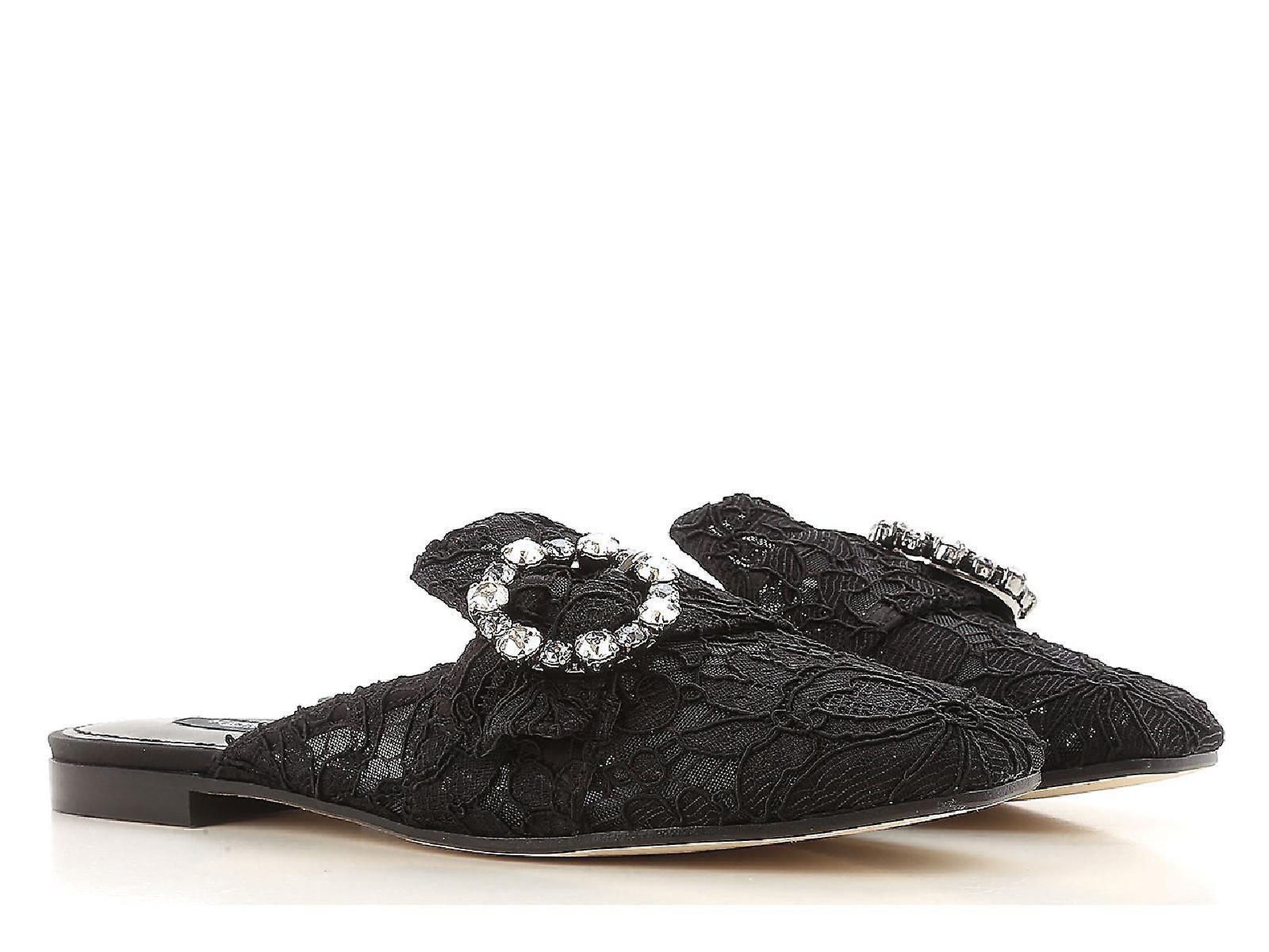 Dolce E Gabbana Ci0004al19880999 Women's Black Satin Slippers